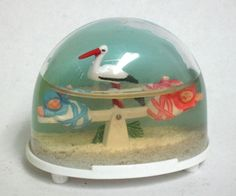 Vintage Two Babies on Seesaw & Seagull Snow Globe by Ges Gesch Collectible #127