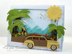 Today I'm sharing another palm trees and Woody beach card using several dies by Rubbernecker Stamps. I've posted several cards using these same dies over Palm Tree Uses, Palm Trees, Impression Obsession Cards, Cloud Stencil, Poinsettia Cards, Nautical Cards, Beach Cards, Pop Up Box Cards, Die Cut Cards