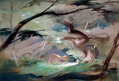 concept art by Tyrus Wong for Bambi