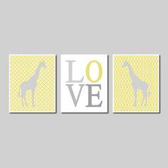 Kids Modern Wall Art Yellow Grey Safari Jungle Giraffe Love Set of 3 Prints Gift Nursery Decor Picture Crib Boy Girl Room Play Room Bedding