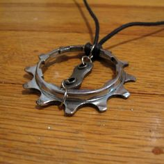 Recycled Bike Gear Pendant Necklace by ~thehippychick on deviantART