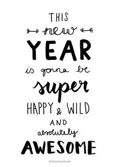 Handlettering Printable: Happy New Year 2016