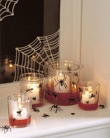 This looks like a fun craft for Halloween. I love the glow in the dark webs on the mirror. I wonder if you could use the fake blood in the costume aisles instead of the corn syrup/food coloring mix?