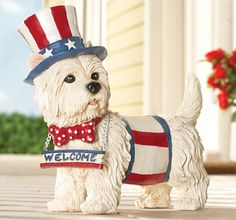 Patriotic White Terrier Puppy Statue w/ Motion-Activated Happy Bark Greeting for sale online Patriotic Decorations, Outdoor Christmas Decorations, 4th Of July Celebration, Fourth Of July, Seasonal Decor, Holiday Decor, Holiday Fun, Patriotic Outfit, Collections Etc