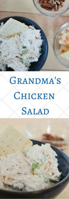 Grandma's Easy Chicken Salad recipe is a simple chicken salad to make for any picnic, summer dinner, or luncheon. A classic chicken salad that can be made in minutes for a crowd or just one. Add in your favorite mix ins like grapes or pecans for a customized chicken salad sandwich