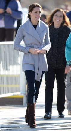 hrhduchesskate:  Canada Tour, Day 5, Carcross, British Columbia, September 28, 2016-for a casual day in the mountains the Duchess of Cambridge chose Canadian designer Sentaler's Ribbed Sleeves Wrapped Coat, now renamed 'The Kate Coat' in her honor, teamed with a shirt and jeans and accessorized with cowboy boots and a pair of earrings by local Yukon designer Shelley McDonald