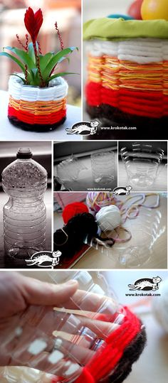 Plastikflaschen weben Me (Diy Manualidades Flower Pots) Plastic Bottle Crafts, Recycle Plastic Bottles, Recycled Bottles, Recycled Crafts, Diy Projects To Try, Craft Projects, Diy And Crafts, Crafts For Kids, Creation Deco