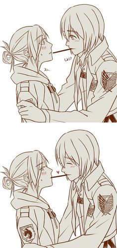 Image about cute in Attack on Titan by Anime_fan Mikasa, Aot Armin, Eren, Attack On Titan Ships, Attack On Titan Anime, Annie Leonhart, Fantasy Couples, Manga Story, Eremika