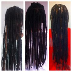 We combined the locs to make them bigger! Picture order: before, binded, whole head finished!