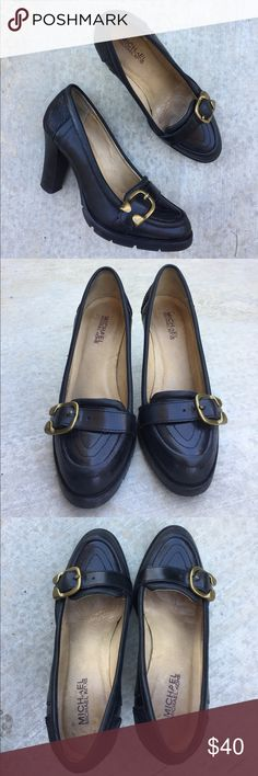 Michael Michael Kors black leather Mary Jane heels Gently worn , size 7 , leather uppers , cushy insole , heel is 3.5 inches * make a reasonable offer* MICHAEL Michael Kors Shoes Heels