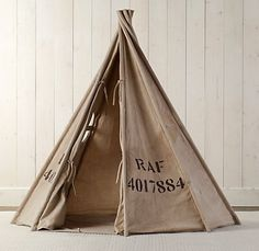 Recycled Canvas Play Tent - contemporary - Baby And Kids - Restoration Hardware Baby & Child Teepee Kids, Teepee Tent, Play Teepee, Play Tents, Kids Tents, Contemporary Kids Toys, Kids Room Curtains, Restoration Hardware Baby, Canvas Tent