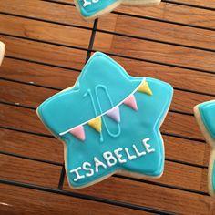 Birthday star with pastel flags #350ferinheit #custombirthdaycookies #happy10thbirthday #birthdaygirl