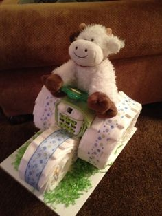 Tractor Diaper Cake by GigisDiaperDesigns on Etsy, $50.00