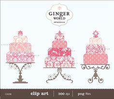 pink Wedding Cake clip art digital illustration by GingerWorld, $4.95