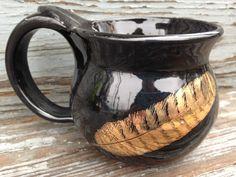 Mug, Black Mug, Gold feather mug, black gold feather mug, coffee mug, black coffee mug, handmade by RuthiesPottery by RuthiesPottery on Etsy