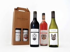 Two Hoots. Wine label and packaging design for a new wine collection targeting a young, fun and care–free audience.