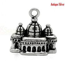 Mini Castle Charm Pendants 18mmx17mm