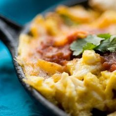 Migas Austin Style @keyingredient #cheddar #bacon #cheese