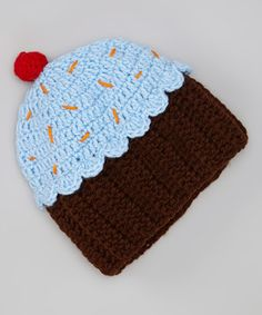 Another great find on #zulily! Blue & Brown Cupcake Beanie by JWhiz Crochet #zulilyfinds