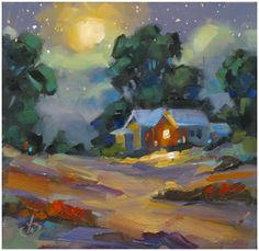 MOON, STARS, HOUSE, LIGHTS, NOCTURNE LANDSCAPE by TOM BROWN, ORIGINAL OIL | eBay