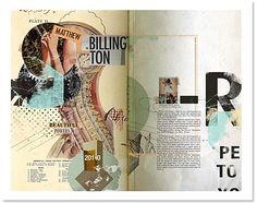 Good collage collaboration and cohesive colors. Graphic Design Magazine, Vintage Graphic Design, Graphic Design Typography, Magazine Design, Page Layout Design, Book Design, Layout Inspiration, Graphic Design Inspiration, Photomontage