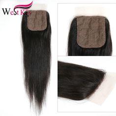 Silk Base Closure Brazilian Virgin Hair Straight 8a Silk Top Closure Three/Middle/Free Part Ali Pearl Hair 4*4 Closure West Kiss