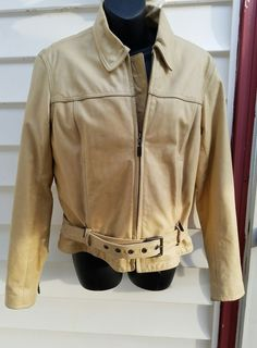 b63be7a07b76 Womens Harley Davidson Leather Jacket Coat Tan Beige Med Quilted Lining HOG