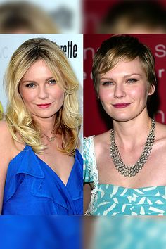 Kirsten Dunst has loose curls at the premiere The Bachelorette at ArcLight Cinemas on August 23, 2012 in Hollywood, California. Years earlier she went for an entirely different look when she chopped her locks and went darker. Here Kirsten is photographed when she arrived at the world premiere of Mona Lisa Smile on December 10, 2003 in New York City.