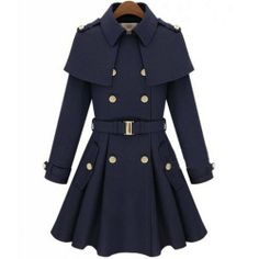 Amazon.com: Winter Warm Cape Collar Women's Double-breasted Wool Coat Cloak Jacket with Belt: Clothing