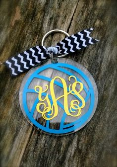 Volleyball Monogram Personalized Acrylic Keychain Key Tag Luggage Tag Back Pack Tag Free Shipping by customvinylbydesign on Etsy https://www.etsy.com/listing/183236188/volleyball-monogram-personalized-acrylic