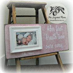 Goddaughter Baby Girl Picture Frame Personalized Custom 8x20 HER FIRST BREATH Baptism First Birthday Gift Godparents New Baby. $65.00, via Etsy.