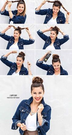 I SPY DIY!! Twisted top knot How to: 1. Tye your hair in a high ponytail 2. Split your hair into two 3. Plate each part 4. Wrap them around to form a bun 5. Bobby pin in place 6. Hairspray it all down