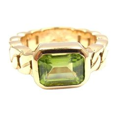 Pre-owned Chanel 18K Yellow Gold Peridot Ring ($1,800) ❤ liked on Polyvore featuring jewelry, rings, 18k yellow gold ring, peridot band ring, 18 karat gold ring, engagement rings and gold jewelry