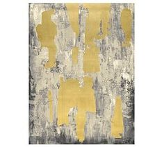 Gray with Gold Leaf Abstract Canvas