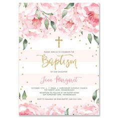 Beautiful blush pink stripe and peony blooms baptism christening invitations with gold glitter confetti dots and modern brush lettering calligraphy Girl baptism Baptism Invitations Girl, Bachelorette Party Invitations, Gold Wedding Invitations, Pink Invitations, Invitation Paper, Bridal Shower Invitations, Communion Invitations, Striped Wedding, Pink Watercolor