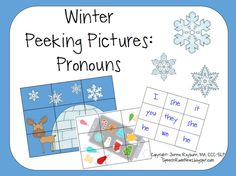 Speech Room News: Winter Peeking Pictures-Prounouns. Pinned by SOS Inc. Resources.  Follow all our boards at http://pinterest.com/sostherapy  for therapy resources.