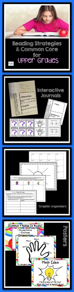 Reading Strategies and Common Core for Upper Grades is a great literacy resources. It is a set of activities, posters, and graphic organizers that can be used individually or added to a literacy interactive notebook. Literacy Notebooks are a great tool to use to keep students engaged in reading. The mini-posters and reference sheets help students understand important reading strategies, such as summarizing, question, understanding plots, and point of view.