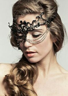 Y Black Phantom W Gold Metal Chain Venetian Laser Cut Masquerade Mask High Quality Rhinestones Etsy