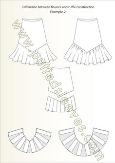Different construction of flounces and ruffles