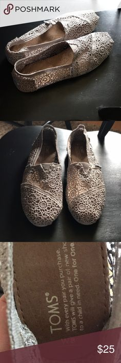 TOMS only $14!! Lowest price! TOMs gray lacy design, only worn once Shoes Flats & Loafers