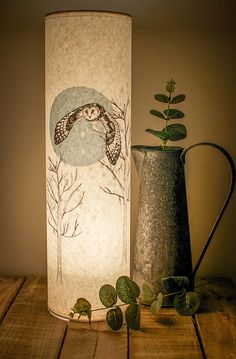 Flying Owl Illustrated Handmade Tall Paper Lamp