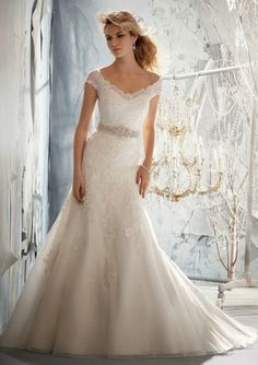 Lace Top Wedding Dress with Short Sleeves