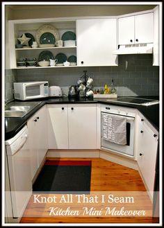 Knot All That I Seam: Mini Kitchen Makeover & Open Kitchen Cabinet!