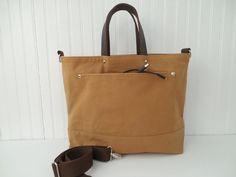Waxed Canvas Tote Leather Handles Messenger Bag