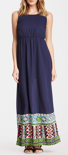 Sleeveless Printed Hem Maxi Dress