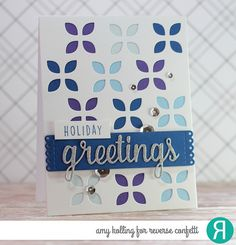 "Card by Amy Kolling. Reverse Confetti stamp set: A Whole Lotta Happy (""holiday""). Confetti Cuts: Greetings Frame, Tall Tag Trio and Large Eyelet Cover Panel. Holiday card. Winter card. Christmas card."