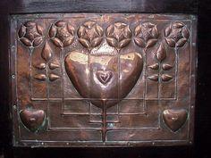 Talwin Morris (1865-1911) - Rose & Heart Copper Panel. Beaten Copper. Circa 1895-1905.