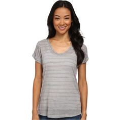 Allen Stripe Short Sleeve Tee Women's T Shirt, Gray ($22) ❤ liked on Polyvore featuring tops, t-shirts, grey, grey t shirt, short sleeve v neck t shirt, short sleeve tee, gray tee and stripe tee
