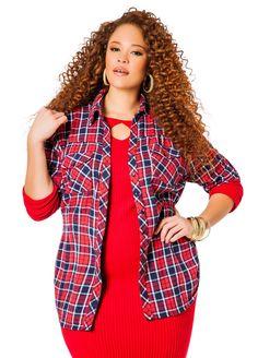 Red and Navy Flannel Cinch Waist Shirt - Ashley Stewart