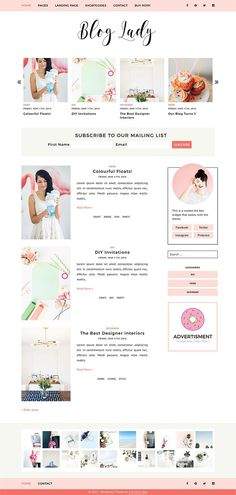 A feminine WordPress Theme for Lifestyle Bloggers with options to change blog layout, display featured posts in a slider and create landing pages.